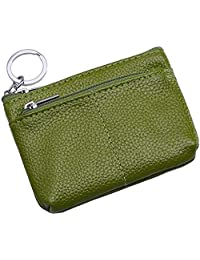 4Inchx3Inchx1.4Inch TASSINI TRENDS Lambskin Coin Purse,Change Purse With Zipper,Unisex Soft Leather Card Pack Change Folder