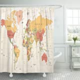 TOMPOP Shower Curtain Beige Political World Map Vintage High Detailed of Worldmap Red Africa Atlas Waterproof Polyester Fabric 60 x 72 inches Set with Hooks