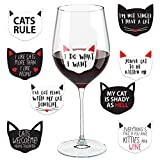 Cat Wine Glass Drink Markers - 18 Static Clings Reusable Stickers -
