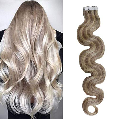 Moresoo 22inch Remy Hair Extensions Human Hair Tape in Extensions Body Wave Color #18 Ash Blonde Highlighted with #613 Blonde Seamless Skin Weft Tape in Hair 20PCS 50G