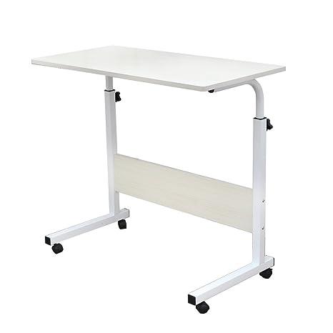 SogesFurniture Mesa Portátil Ordenador Ajustable con Ruedas, 80 * 40cm Mesa sofá Mesa de Escritorio para Cama o Sofá, Arce Blanco 05#1-80MP-BH