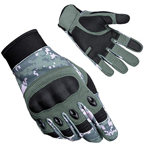 Zimco Cycle Wear Protective Hard Knuckle Touch Screen Gloves Cycling Motorcycle Tactical Gloves for Shooting, Hunting, Hiking, Paintball, Motorbike, Safety, Working Sports Gloves (Green Camo, XL) by Zimco Cycle Wear