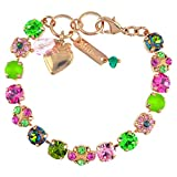 """Mariana Tutti Frutti Rose Gold Plated Crystal Tennis Bracelet with Flower and Heart, 8"""""""