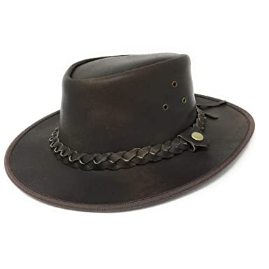 Amazon.com  Cotswold Country Hats Explorer Brown Leather Bush Hat ... ddd8280a0f5