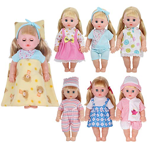 11 Inch Doll Clothes - Young Buds Pack of 6 for 11-12-13 Inch Reborn Alive Baby Doll Clothes Outfits with Pillow Quilt Sheet Accessories Birthday Xmas Gift