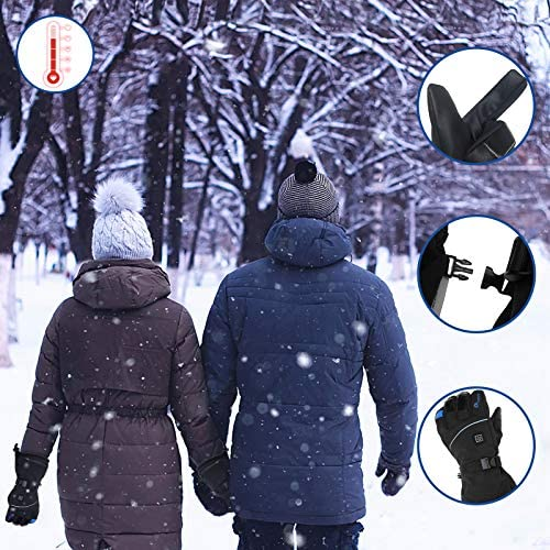Heated Gloves, PATHONOR Rechargeable Battery 7.4v Heated Gloves for Women Men Waterproof Winter Motorcycle Gloves 3M Thinsulate Hand Warming Gloves w/Touchscreen for Winter Sports IceFishing Arthritis