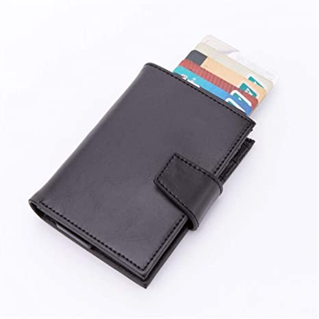 Card Holder Men/'s Business Namecard Genuine Leather Wallet Automatic Solid
