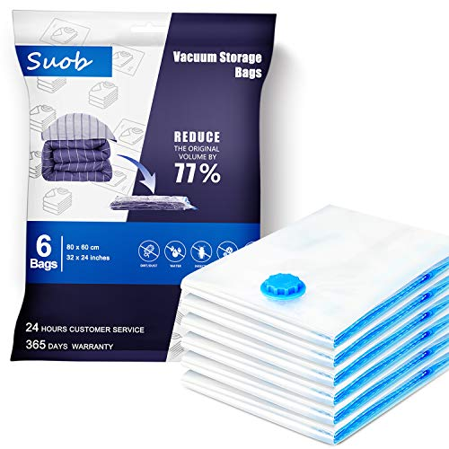 Suob [6 Pack] Vacuum Storage Bags, 80 x 60cm Double Zip Seal Reusable for Bedding, Double Duvet, Pillows, Mattress, Quilt, Clothes, Sweaters, Dress, Coats, Curtains, Blankets