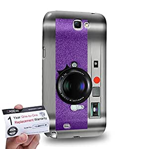 Case88 [Samsung Galaxy Note 2] 3D impresa Carcasa/Funda dura para & Tarjeta de garantía - Art Drawing Violet Retro Old Style Camera