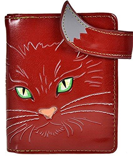 Shag Wear Women's Animal Design Small Zipper Wallet Green Eyed Kitty Teal ()