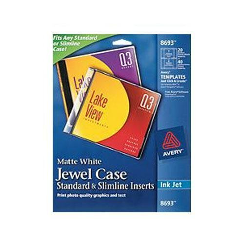 2 Pack Avery (8693) Matte White Jewel Case Standard and Slimline Inserts, 20 Sheets ()