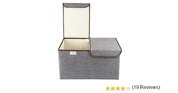 Cubos de almacenamiento plegables, COKOSIM Tela Lino Bin doble tapas cajas de almacenamiento plegable con doble asas para bebé, niños, ropa para niños Organizador, artículos para el hogar 46x30x25cm (Gris): Amazon.es: Hogar