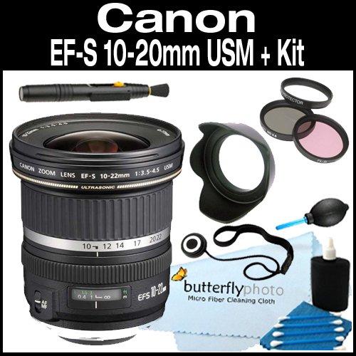Canon EF-S 10-22mm f/3.5-4.5 USM SLR Lens for EOS Digital SLRs + Filter Kit Hood + Care Package (Canon Ef S 10 22mm F 3-5 4-5)