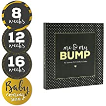 Pearhead Me and My Bump, Photo Journal and Maternity Sticker Set, Black/Gold