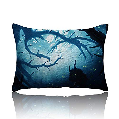 (Mystic Standard Pillowcase Animal with Burning Eyes in The Dark Forest at Night Horror Halloween Illustration Pillowcase Protector 16