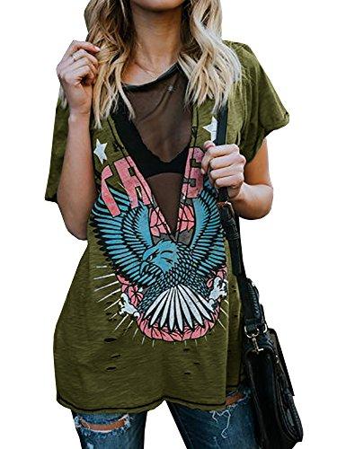 Womens Distressed Hawk Print Mesh V Neck Loose Graphic Short Sleeve T-Shirt Tops Blouse Green