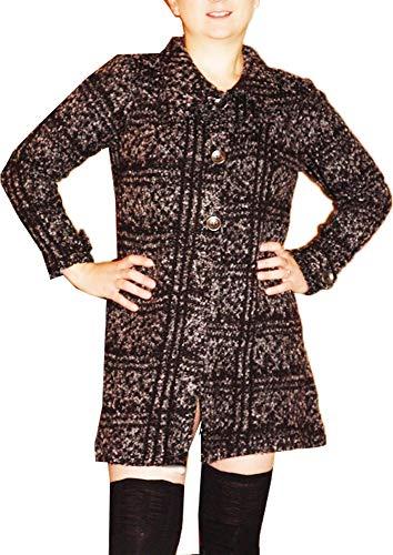 Veste Manteau Femme Style Gris Longue Jacquard RpSRqUO