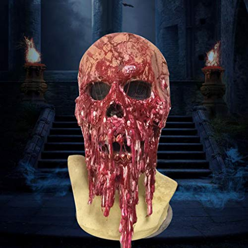 SKSNBMJ Halloween Mask Latex Mask Horror Drop Blood Mask Haunted House Props Latex Head Cover]()