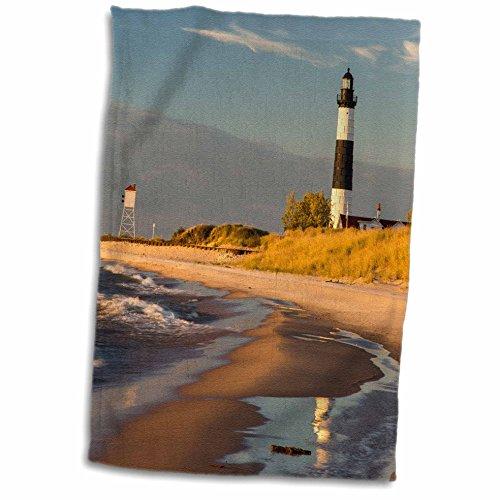 - 3D Rose Big Sable Point Lighthouse Lake Ludington SP Michigan USA TWL_190093_1 Towel 15