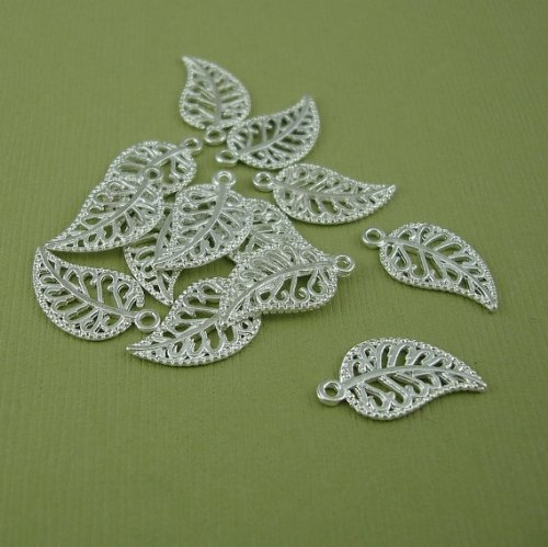 BeadsTreasure 10 Bright Silver Plated Leaf Charm Pendant Jewelry Making Finding (10 Silver Plated Filigree)