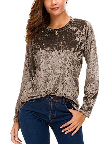 Women's Vintage Velvet T-Shirt Casual Long Sleeve Top (L, Coffee)