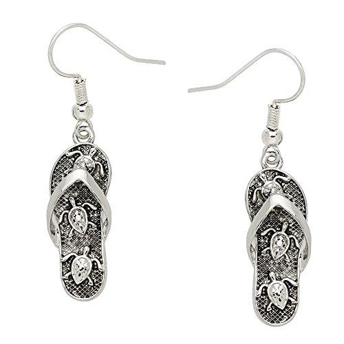 Liavy's Sea Turtle Flip-Flop Sandals Fashionable Earrings - Fish Hook - Unique Gift and Souvenir ()