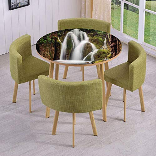 Round Table/Wall/Floor Decal Strikers,Removable,Epic Waterfall Down The Cliffs Deep in Forest Natural Wonders Picture,for Living Room,Kitchens,Office ()