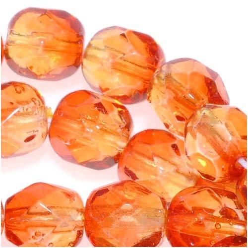 チェコガラス2トーンビーズ・ファイアポリッシュ・6mmラウンド型・オレンジイエロー・ファイアオパール 25個の商品画像