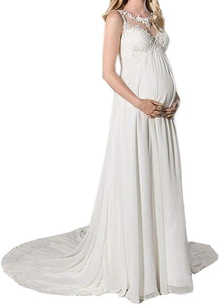 YASIOU Damen Brautkleid A Linie Chiffon Lang Schwangere EmpireTaille Mutterschaft Brautkleider zum Schwanger Hochzeitskleid mit Appliques