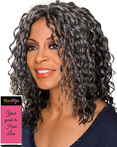 Glenda Wig Color 3T280 - Foxy Silver Wigs Medium Length Monofilament Half Synthetic Corkscrew Curls African American Womens Lightweight Average Cap Bundle with MaxWigs Hairloss ()