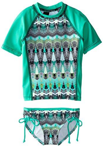 Hurley Little Girls' Phoenix Short Sleeve Rashguard Set, Aqua, Small -