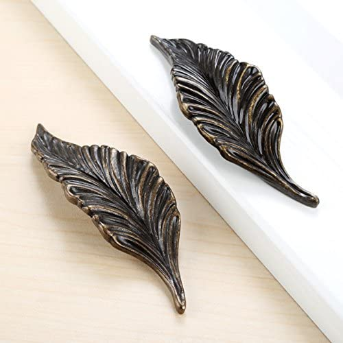 1pair Leaf Handles Knob Zinc Alloy for Cabinet,Kitchen,Door,Drawers,Bookcases,4.13in Silver Color
