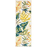 18 x 411 Yellow Blue Tropical Theme Runner Rug Rectangle, Indoor Green Beige Beach Themed Hallway Carpet Palm Tree Flower Pattern Nautical Coastal Entryway Motif Flower Entrance Way, Polypropylene