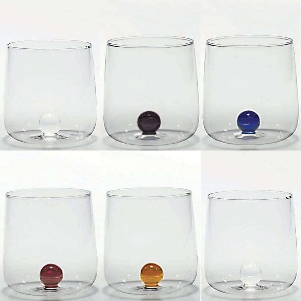 Zafferano Bilia Set 6 tumblers Transparent with 6 Different Colours Little Balls