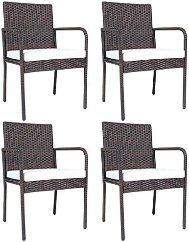 HAPPYGRILL 4-Piece Patio Rattan Dining Chairs