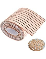 850+ 10x10 mm(0.4x0.4 inch) Glass Mosaic Tiles Rose Gold Bulk Square Mirror Tiles Self-Adhesive REAL Glass Craft Mini Square & Round