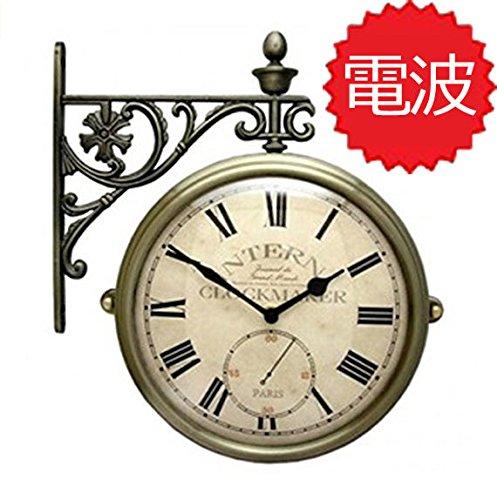 両面電波時計 両面時計 Interior Double Face Wall Clock おしゃれな インテリア 両面壁掛け時計 電波両面時計 M195-AN B072KWGNTC