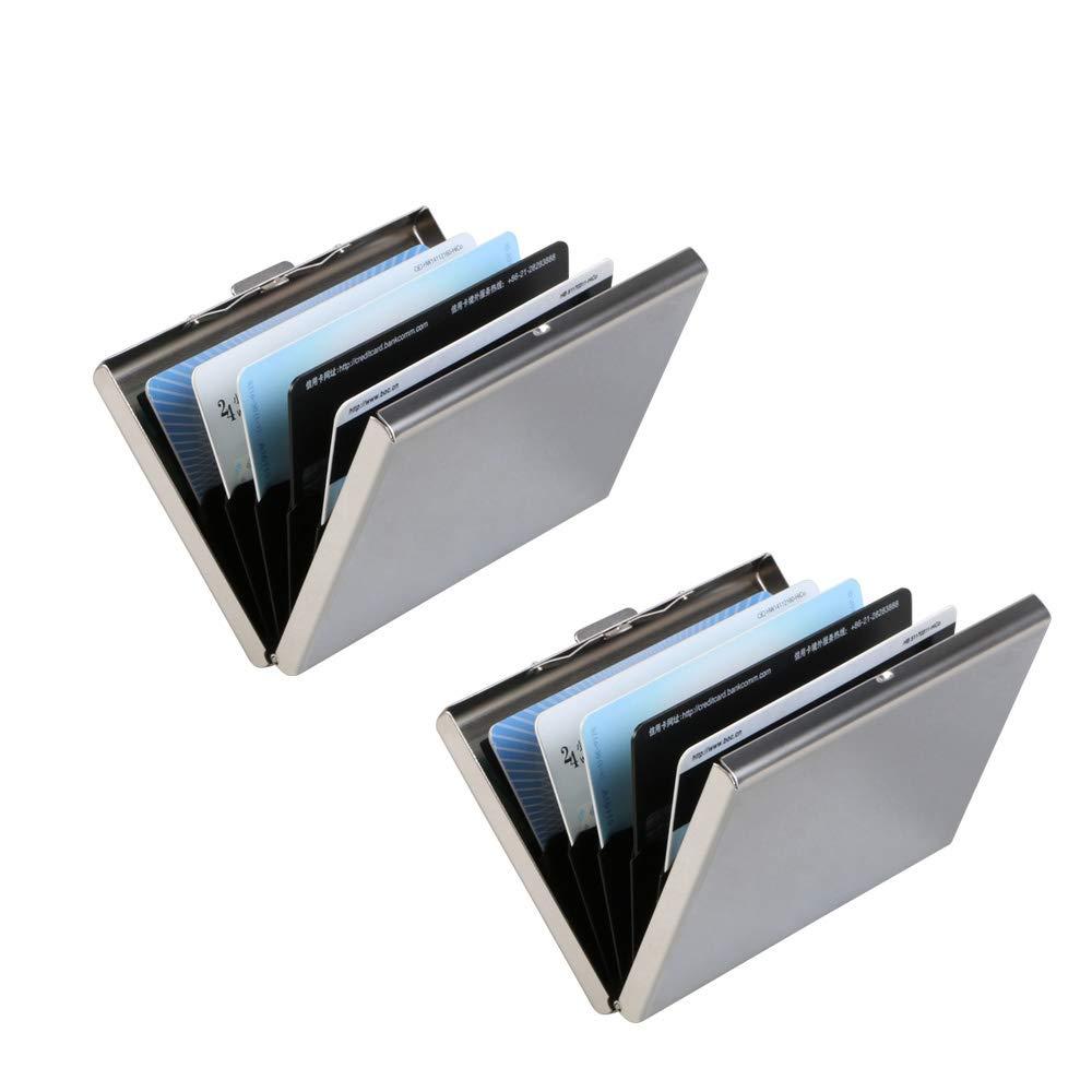 Vicloon Porte-Carte de Crédit Visite Métallique avec la Technologie de Blocage RFID, Cool Etui de Carte de Visite Slim Métal - 6 Slots pour Vos Cartes de Crédit (Argent - 1pcs) FBA-C3401_UK