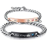 Mens Womens Stainless Steel His King and Her Queen Couples Chain Bracelet Valentines Gift