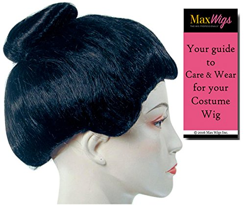 Geisha Girl Deluxe Color Black - Lacey Wigs Women's Asian Japanese Very Full Puffed Out Sides Bundle with MaxWigs Costume Wig Care Guide]()