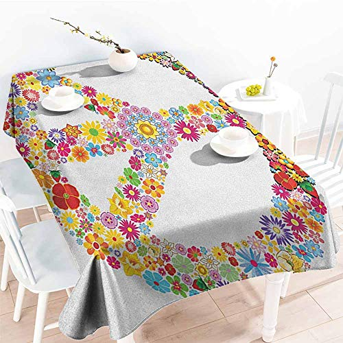 (familytaste Groovy,Decor Collection Table Cloths Floral Peace Sign Summer Spring Blooms Love Happiness Themed Illustration Print 54