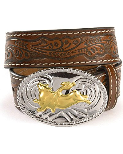 Bull Rider Buckle (Nocona Boy's Bull Rider Buckle Belt, Brown,)