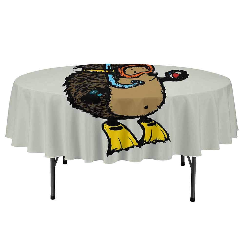 Animal Leakproof Polyester Round Tablecloth Cartoon Scuba Diver Hedgehog Cute Illustration for Kids Funny Sea Life Outdoor and Indoor use D35 Inch Baby Blue Yellow Brown by Curioly