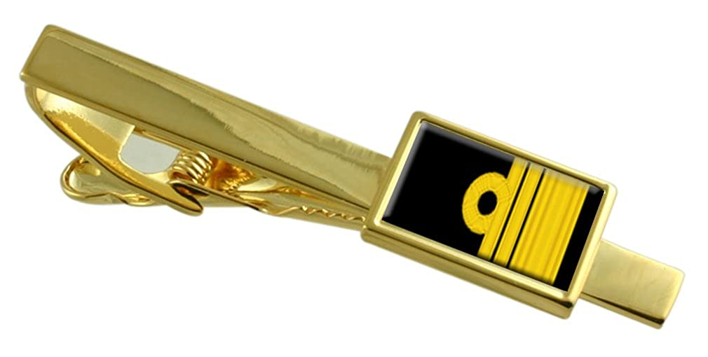 Select Gifts Royal Navy Insignia Rank Vice Admiral Gold-Tone Tie Clip Pouch