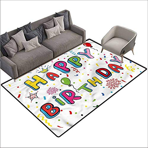 Indoor/Outdoor Rubber Mat Birthday,Cute Letters Greeting 80