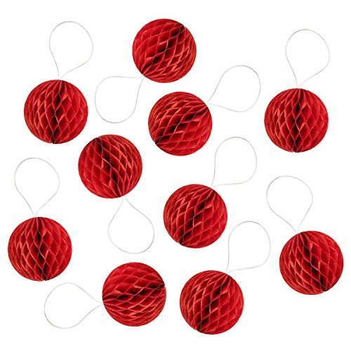 Wrapables Mini Honeycomb Ball Party Decorations for Weddings, Birthday Parties, Baby Showers and Nursery Decor (Set of 10), 2, Red