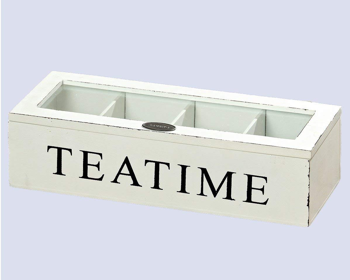 Whole House Worlds, Tea Time Chest, 10 3/4 x 4 1/4 x 2 3/4 Inches, Distressed Wood, Glass Top, 4 Compartments, Rustic White by Whole House Worlds (Image #3)