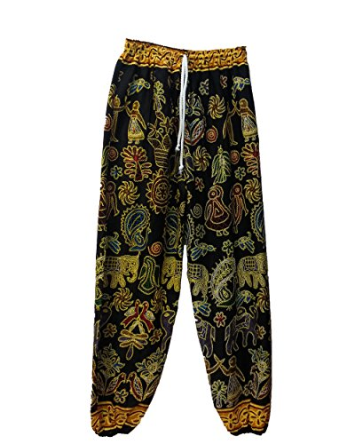 BKKStore-Stone-Age-Tribal-Symbol-Art-Pants-Fit-MenWomen-Rayon100-Made-and-Imported-From-Thailand