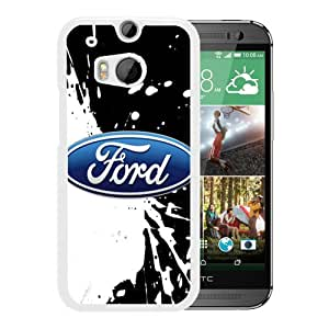 Unique And Popular HTC ONE M8 Case ,Ford logo 4 White HTC ONE M8 Screen Cover Beautiful Designed