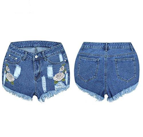 De Con LHWY Mujer Verano Vaqueros Para Ajustados Pantalones Jeans EláStico Corto De Flecos Alta Cintura Bordados aqwwOx